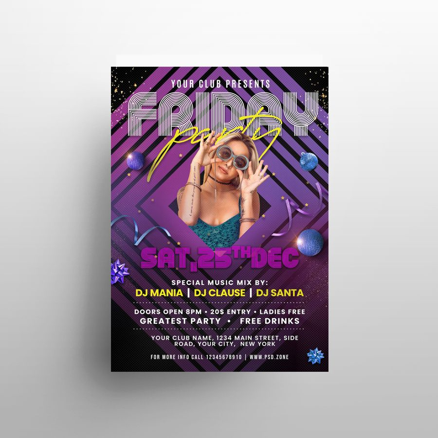 Free Friday Night Party Flyer Template (PSD)