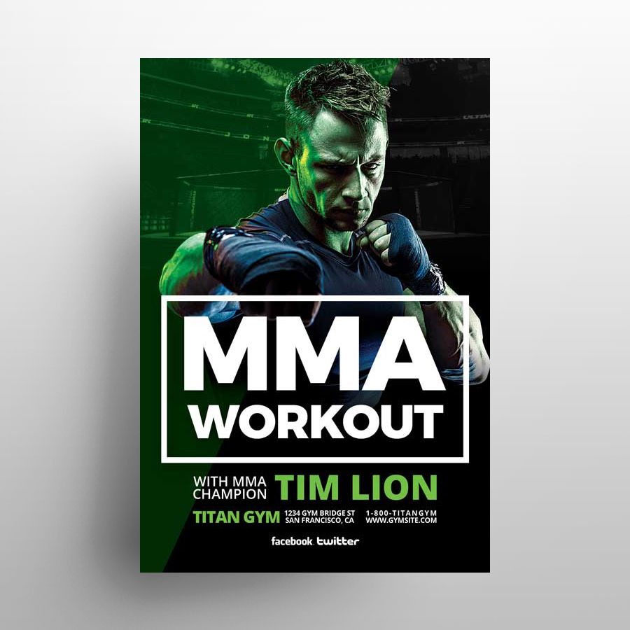 Free MMA Sports Tournament Flyer Template (PSD)