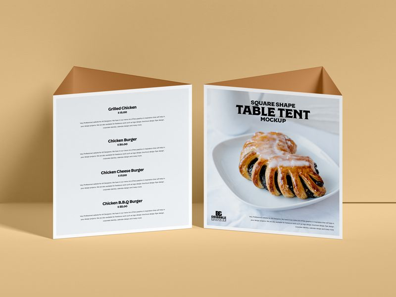 Free Table Tent Mockup (PSD)