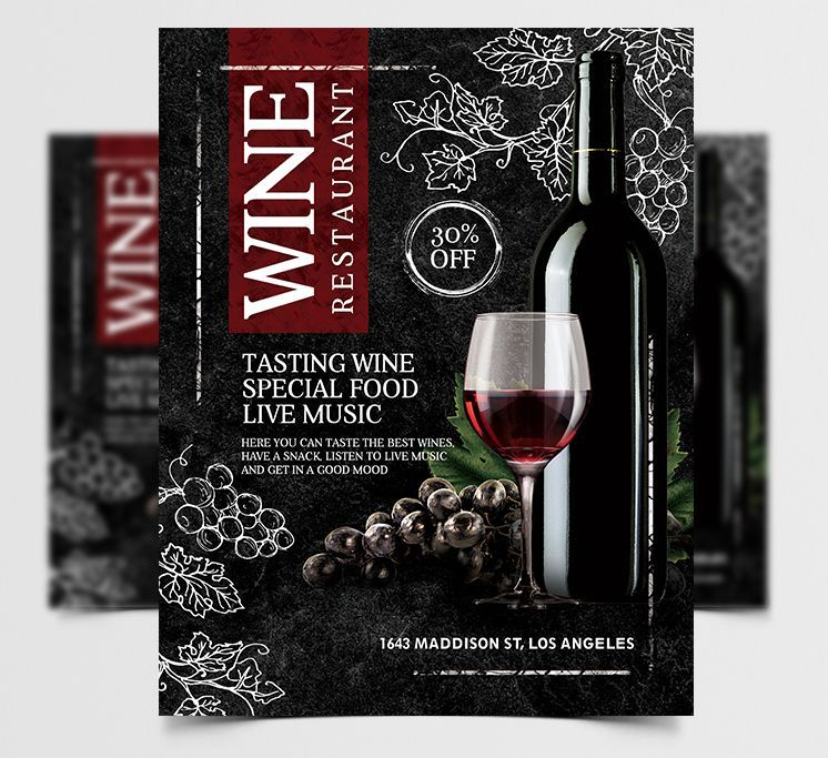 Free Wine Restaurant Event PSD Flyer Template