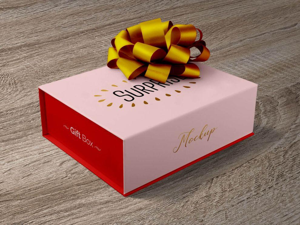 Gift Box Free Mockup (PSD)
