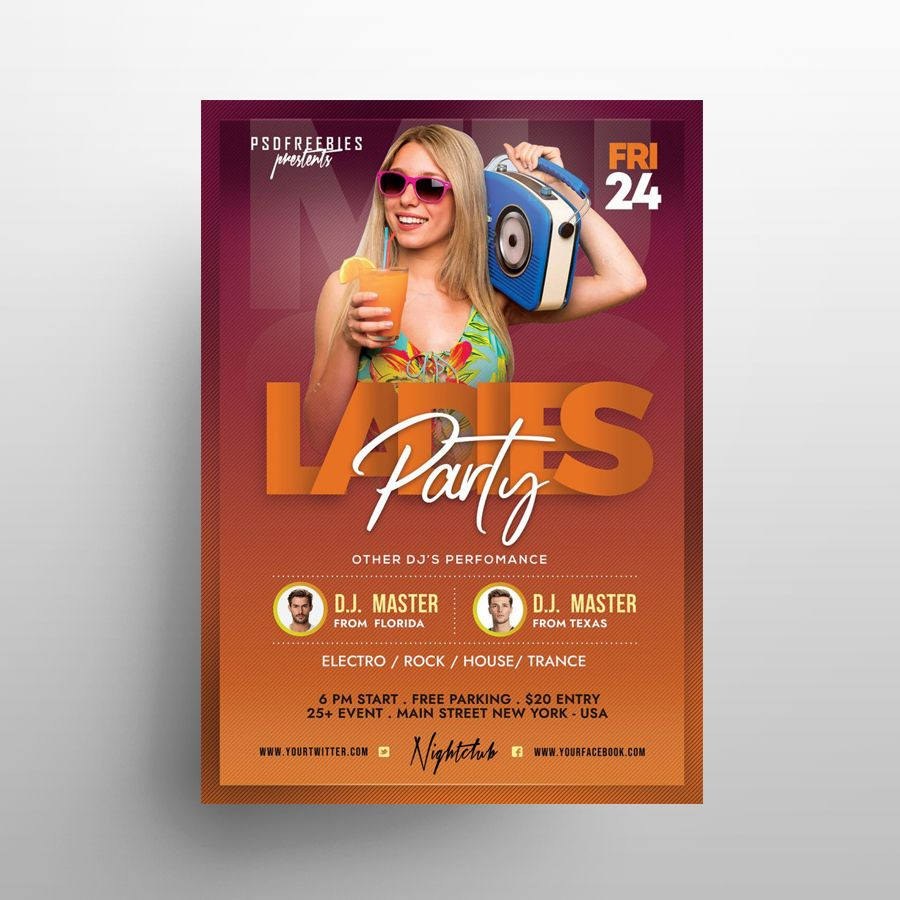Girls Party Night Free Flyer Template (PSD)