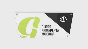 Glass Nameplate Free Mockup