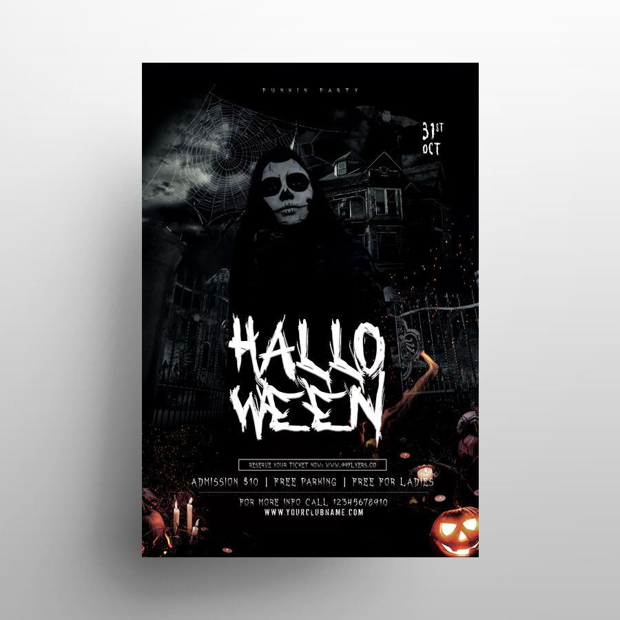 Halloween Dark Party Free Flyer Template (PSD)