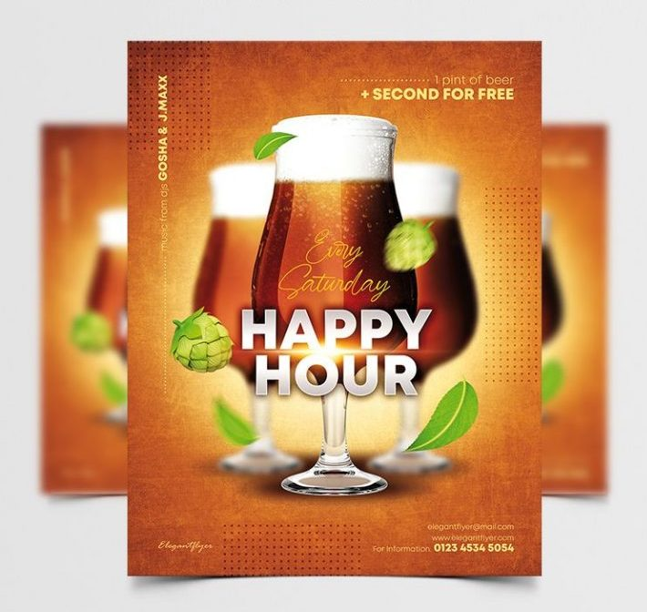 Happy Hour Party Free Flyer Template (PSD)
