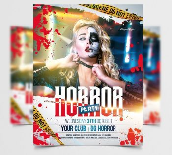 Horror Halloween Party Free Flyer Template (PSD)