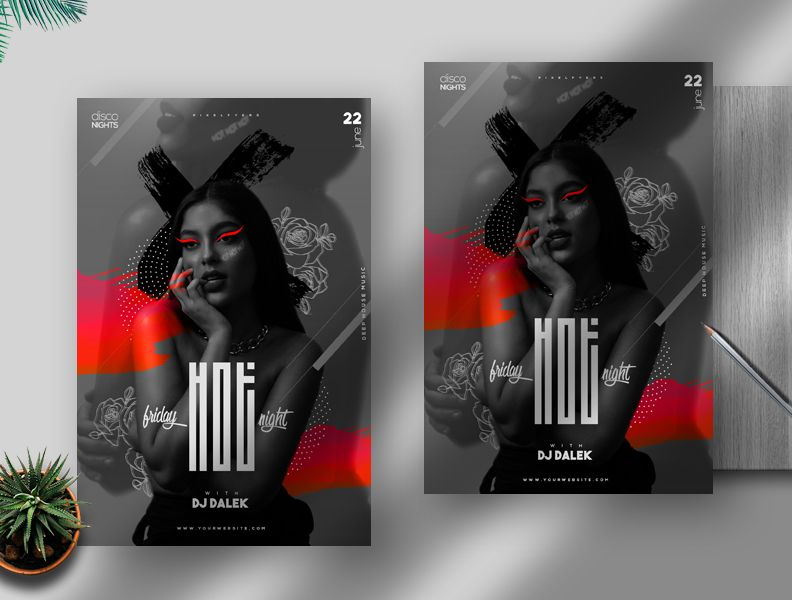 Hot Friday Party Free Flyer Template (PSD)