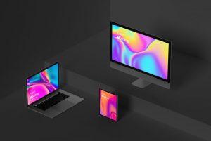 Isometric Apple Devices Free Mockup