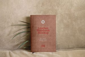 Leather Notebook Free Mockup (PSD)