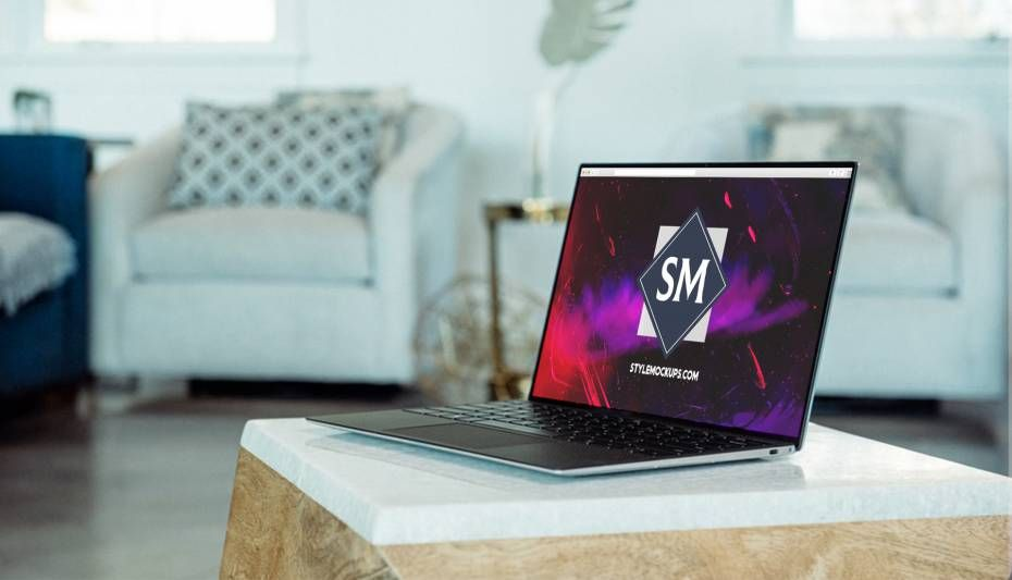 MacBook Pro on Room Free Mockup (PSD)