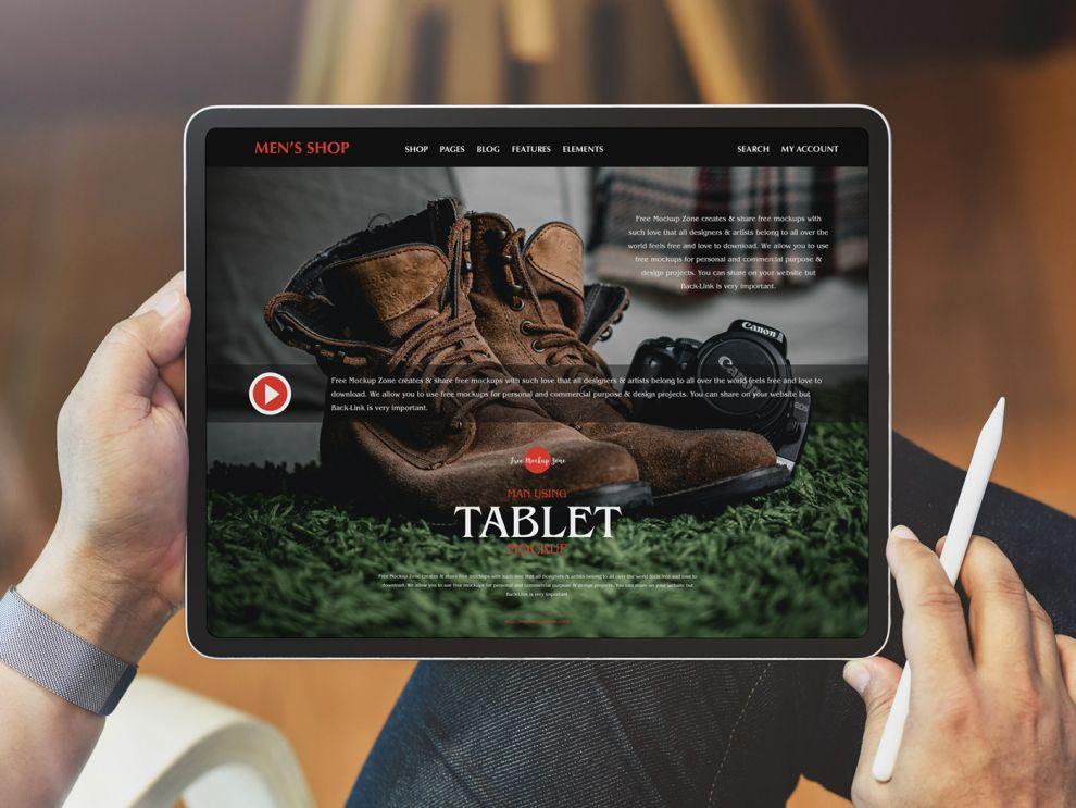Man Using Tablet Free Mockup