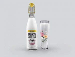 Milk Glass Bottle Free Mockup