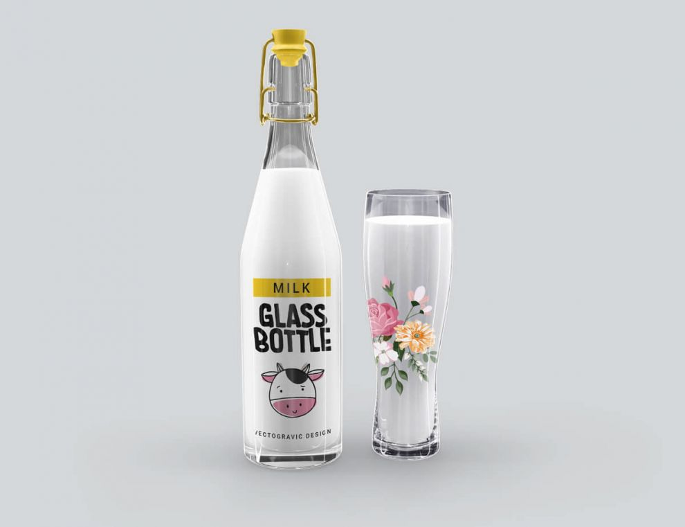 Milk Glass Bottle Free Mockup