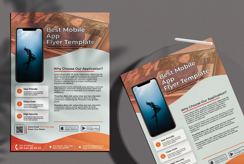 Mobile App Ad Free Flyer Template (PSD)