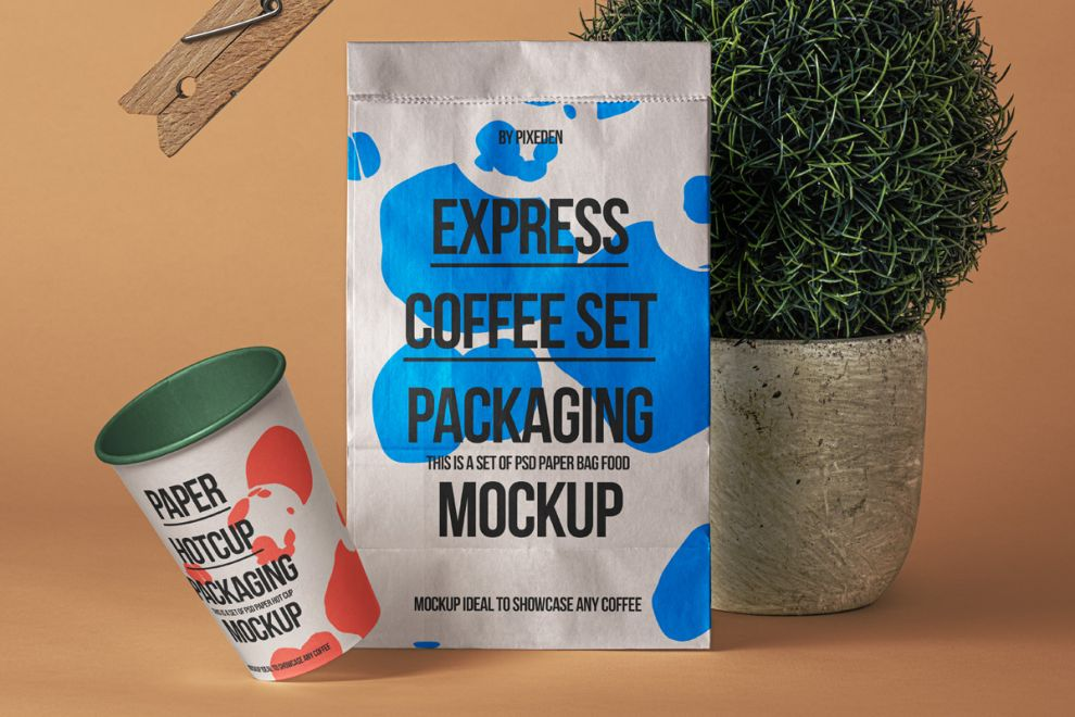 Paper Bag with Cup Scene Free Mockup