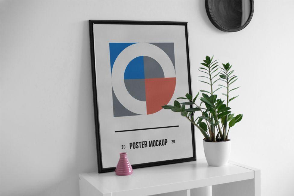 Poster Frame on Desk Free Mockup (PSD)