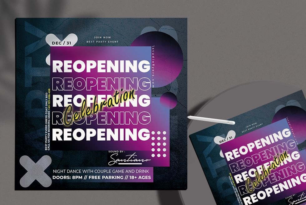 Reopening Club Party Free PSD Flyer Template Vol2