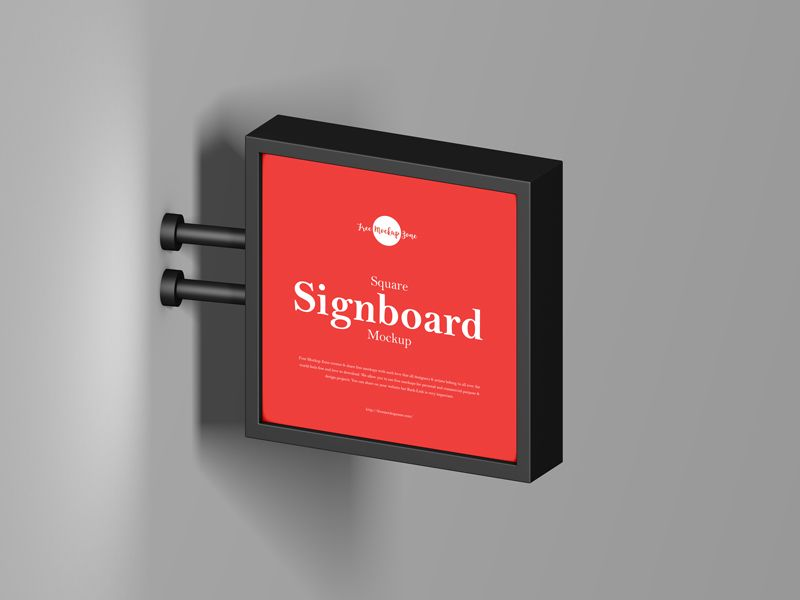 Square Signboard Free Mockup