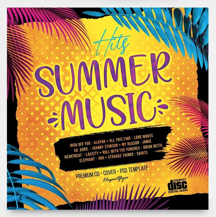 Summer Music Hits Free Mixtape CD Cover Artwork Template (PSD)
