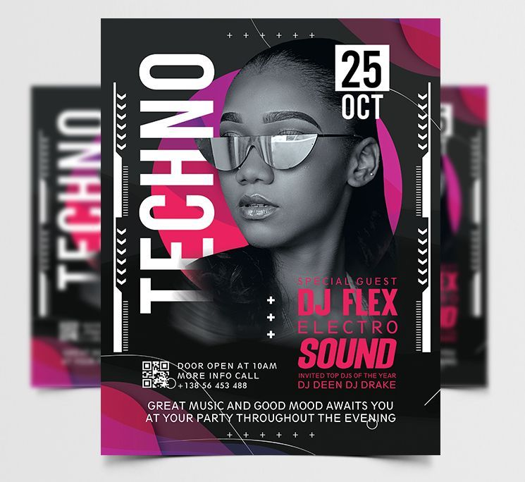 Techno DJ Club Free Flyer Template (PSD)