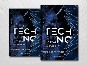 Techno & EDM Party Free PSD Flyer Template