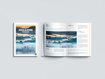 Top View Magazine Free Mockup (PSD)
