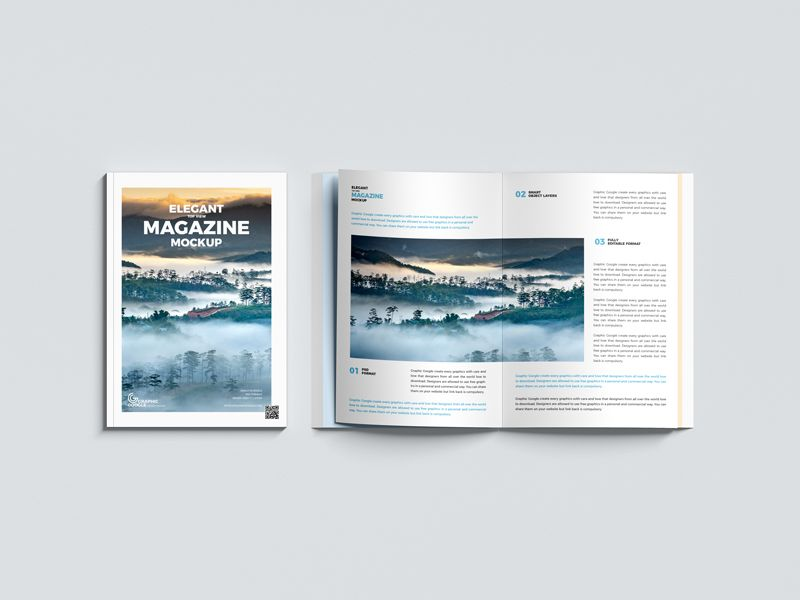 Top View Magazine Free Mockup (PSD)