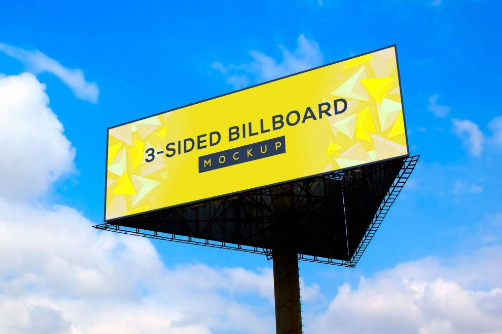 Triangle Big Billboard Free Mockup