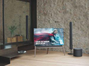 UHD TV LCD Screen Free Mockup