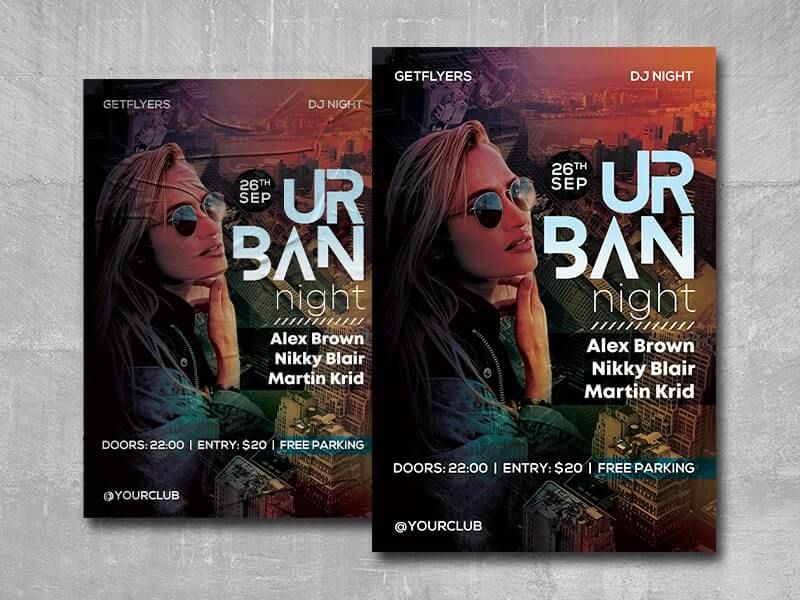 Urban DJ Party Free Flyer Template (PSD)
