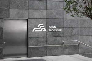 Wall 3d Logo Free Mockup