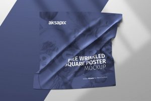 Wrinkled Square Poster/Flyer Free Mockup