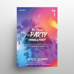 the Beach Party Free Summer Flyer Template