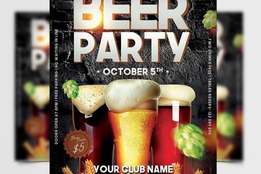 Beer Fest Party Free Flyer Template (PSD)