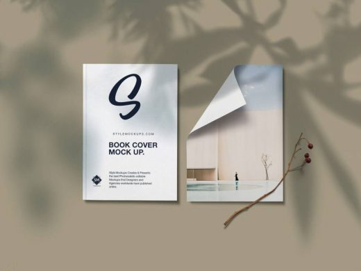 Book Cover with Paper Free Mockup
