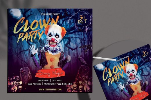 Clown Halloween Party Free Flyer Template (PSD)