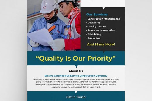 Construction Ad Company Free Flyer Template (PSD)