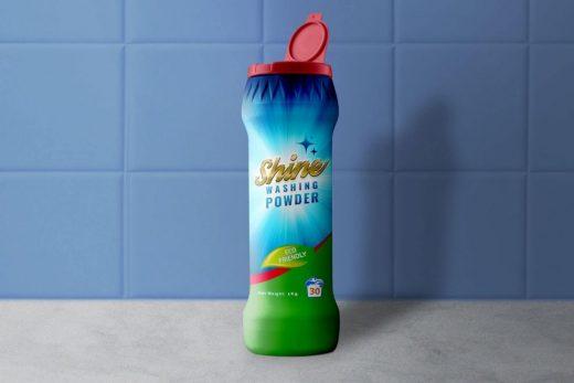 Dishwashing Powder Plastic Bottle Free Mockup