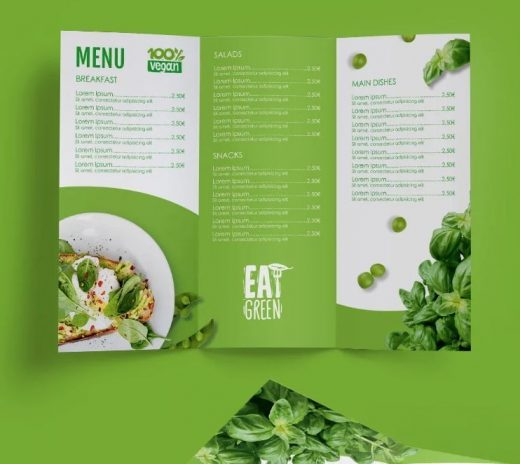 Eat Green Free Tri-Fold Brochure Template (PSD)