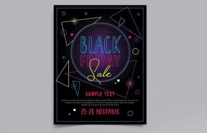 Free Black Friday Neon Flyer Template (PSD)