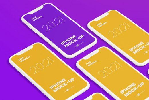 Free Minimalist iPhone Mockup Set