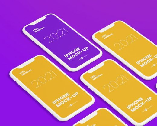 Free Minimalist iPhone Mockup Set
