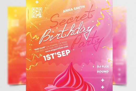 Free Pink Birthday Party Flyer Template (PSD)
