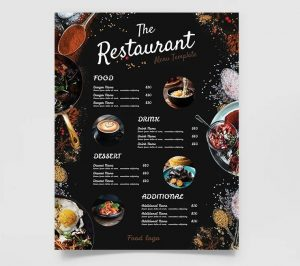 Free Restaurant Double Sided Menu (PSD)