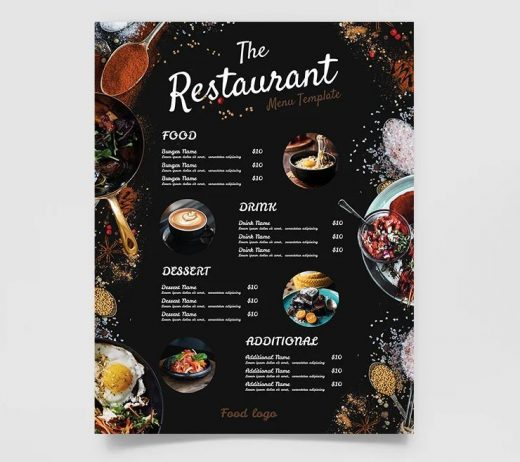 Free Restaurant Double Sided Menu