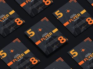 Grid View Flyer Free PSD Mockup