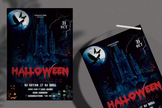 Halloween Black Night Free Flyer Template (PSD)
