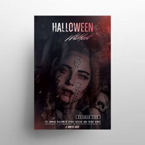 Halloween Red Party Free Flyer Template (PSD)