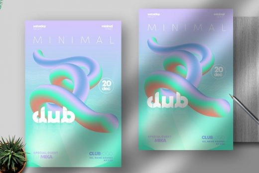Holo Minimal Party Free PSD Flyer Template