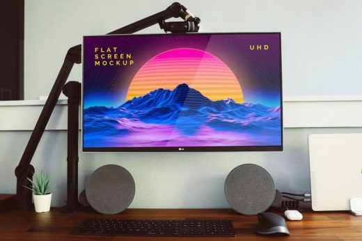 LG Flat Screen Monitor Free Mockup